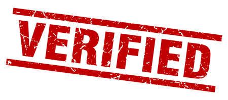 verified: square grunge red verified stamp