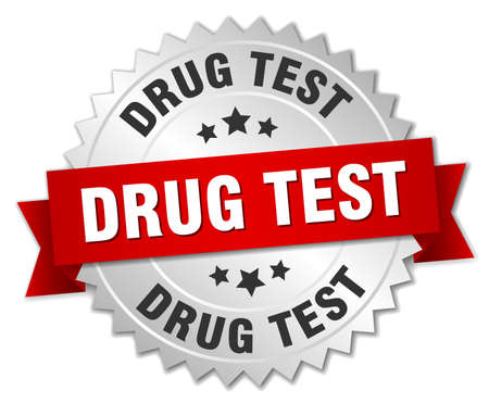 A drug test round isolated silver badge Illustration