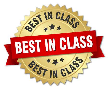 Best in class ronde geïsoleerde gouden badge Stock Illustratie