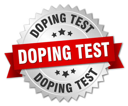 Doping test round isolated silver badge Ilustrace