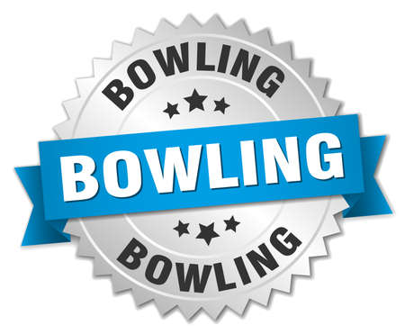 bowling round isolated silver badge Illustration