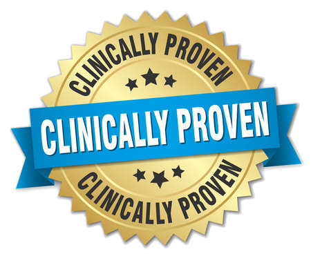clinically proven round isolated gold badge