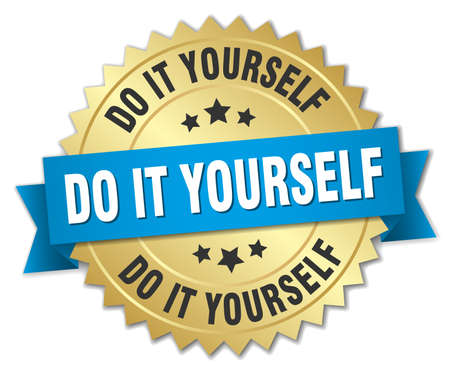 do it: do it yourself round isolated gold badge