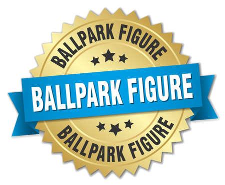 ballpark: Ballpark figure round isolated gold badge