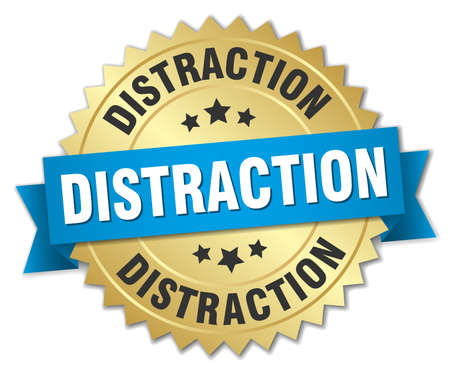 distraction: Distraction round isolated gold badge Illustration