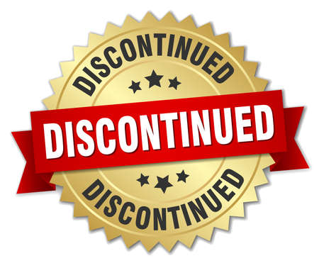 discontinued: Discontinued round isolated gold badge Illustration