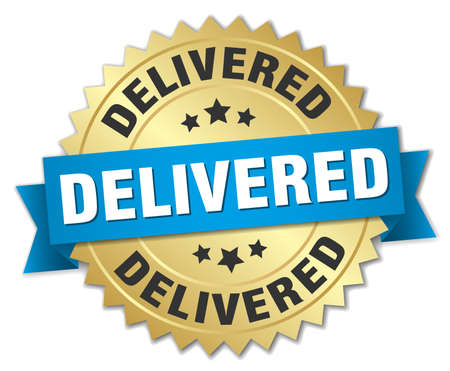 delivered: delivered round isolated gold badge