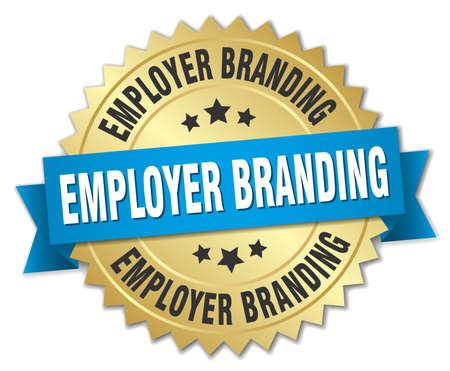 employer branding round isolated gold badge