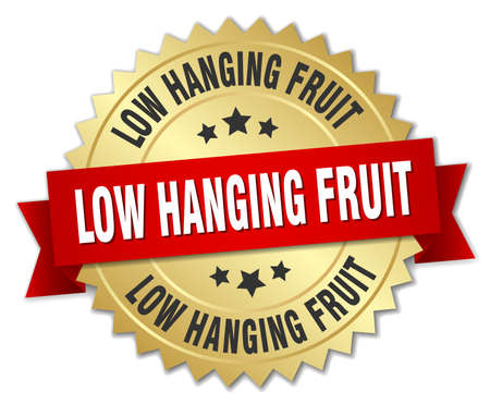 low hanging fruit round isolated gold badge