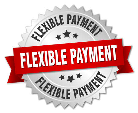 flexible payment round isolated silver badge Illustration