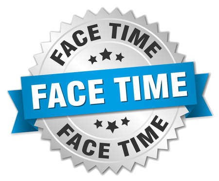 Face time round isolated silver badge