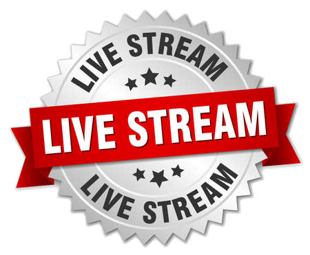 live stream sign: live stream round isolated silver badge