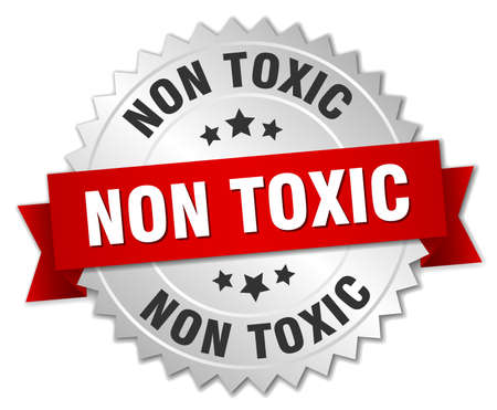 Non toxic round isolated silver badge Reklamní fotografie - 77828429