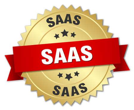 saas: saas round isolated gold badge Illustration