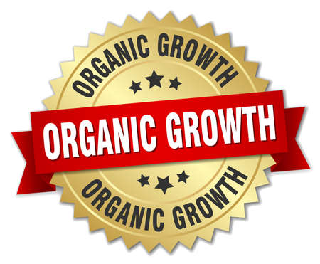 organic growth round isolated gold badge