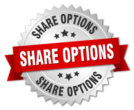 share options round isolated silver badge