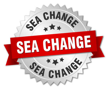 sea change round isolated silver badge Illustration