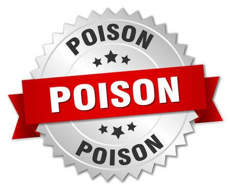 poison: poison round isolated silver badge Illustration