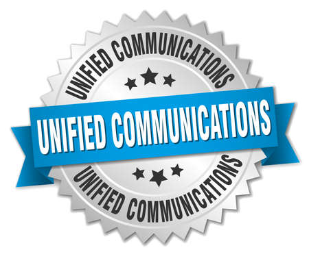 unified communications round isolated silver badge 版權商用圖片 - 77704821