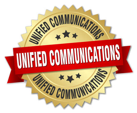 unified communications round isolated gold badge 向量圖像