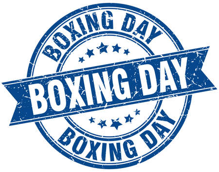 boxing day round grunge ribbon stamp Illustration