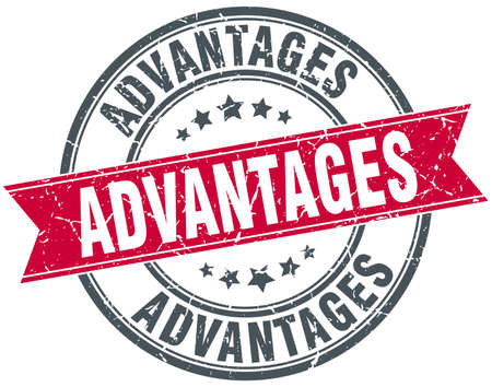 advantages: advantages round grunge ribbon stamp