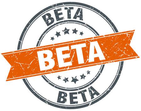 beta round grunge ribbon stamp