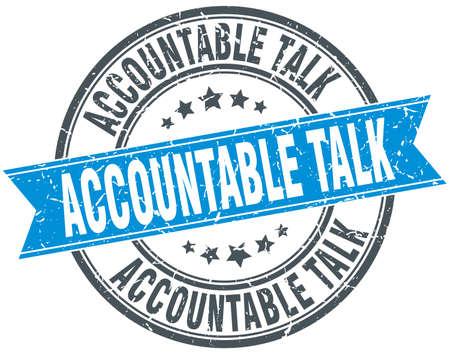 accountable: accountable talk round grunge ribbon stamp