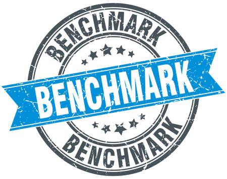 benchmark: benchmark round grunge ribbon stamp Illustration