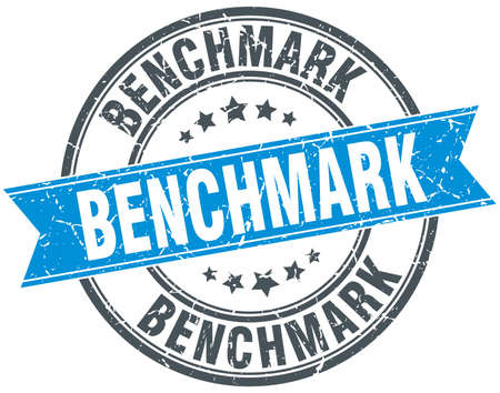 benchmark round grunge ribbon stamp Illustration