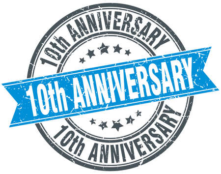 10th anniversary round grunge ribbon stamp