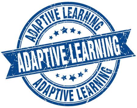 adaptive learning round grunge ribbon stamp Illustration