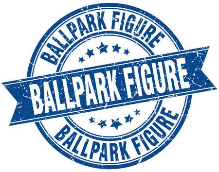 ballpark: ballpark figure round grunge ribbon stamp Illustration
