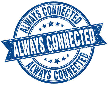 always connected round grunge ribbon stamp