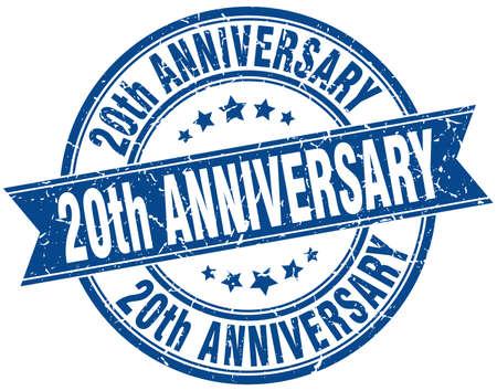 20th anniversary round grunge ribbon stamp
