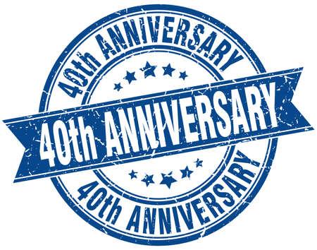 40: 40th anniversary round grunge ribbon stamp Illustration