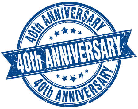 40th anniversary round grunge ribbon stamp Illustration