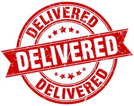 delivered round grunge ribbon stamp