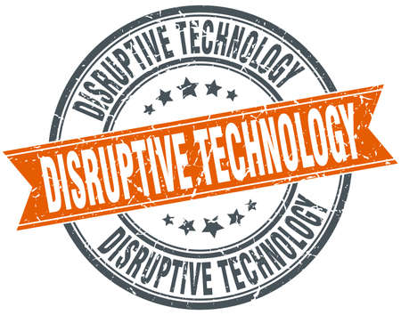 disruptive: disruptive technology round grunge ribbon stamp
