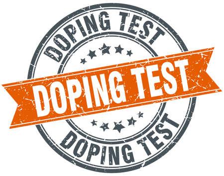 doping test round grunge ribbon stamp