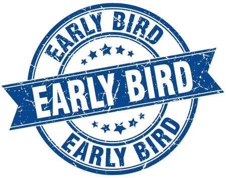 early bird round grunge ribbon stamp
