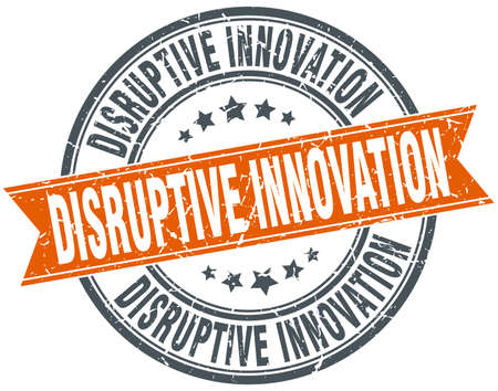 disruptive: disruptive innovation round grunge ribbon stamp