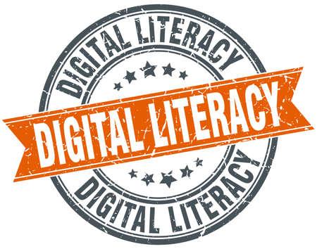 digital literacy round grunge ribbon stamp Illustration