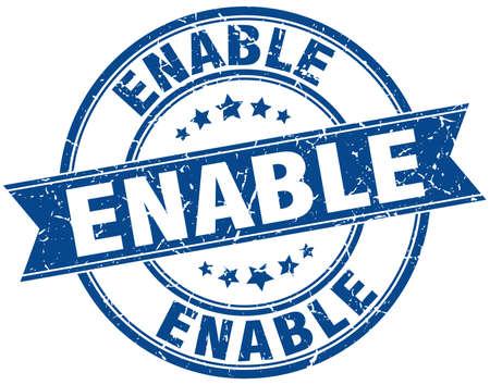 enable: enable round grunge ribbon stamp