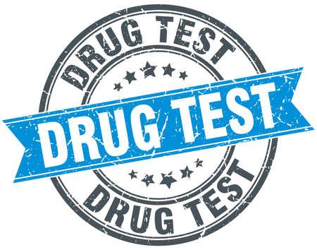 drug test round grunge ribbon stamp