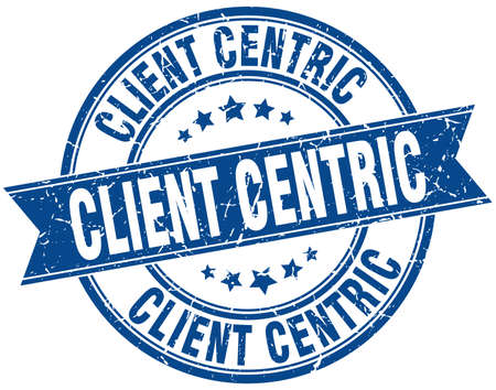 client centric round grunge ribbon stamp Ilustração