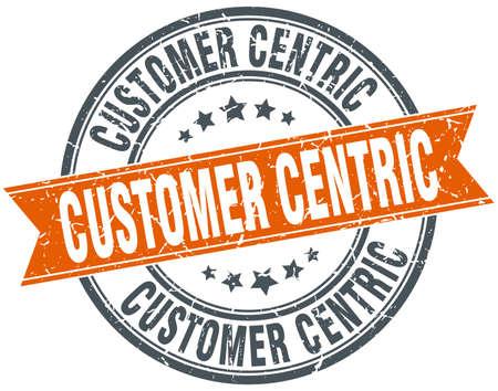 customer centric round grunge ribbon stamp