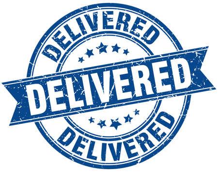 delivered: delivered round grunge ribbon stamp