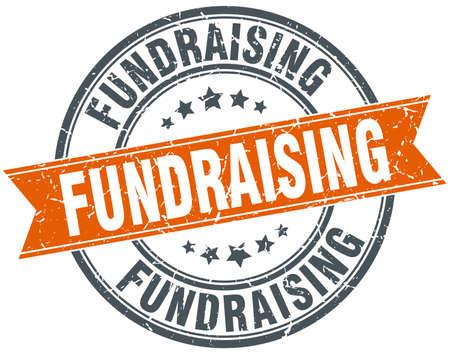 fundraising round grunge ribbon stamp