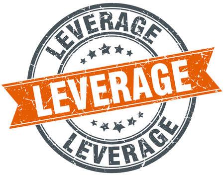 leverage round grunge ribbon stamp